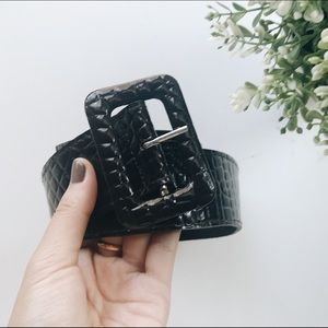 Rectangle Buckle Black Faux Leather Snakeskin Belt